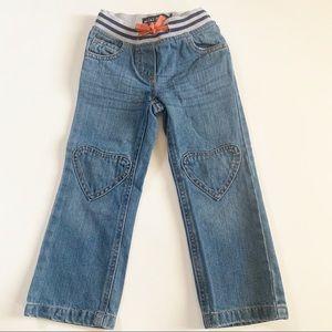 Mini Boden heart patch jeans blue girls size 4